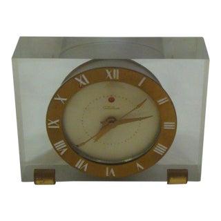 Lucite Block Desk Clock Hollywood Regency For Sale