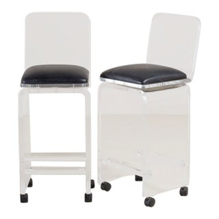 Pair of Lucite Faux Leather Swivel Bar Stools, 1980s For Sale