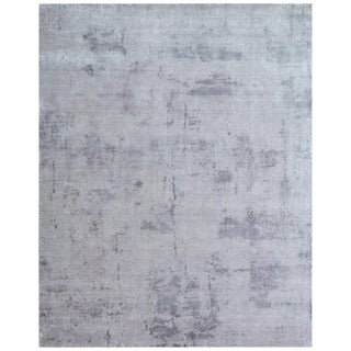 Bruges Silver Hand loom Bamboo/Silk Area Rug - 6'x9' For Sale