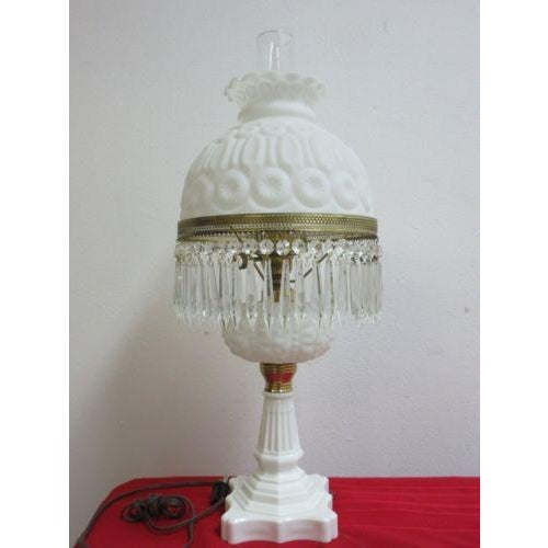 Antique Art Deco Milk Glass Hurricane Table Lamp - Image 2 of 7
