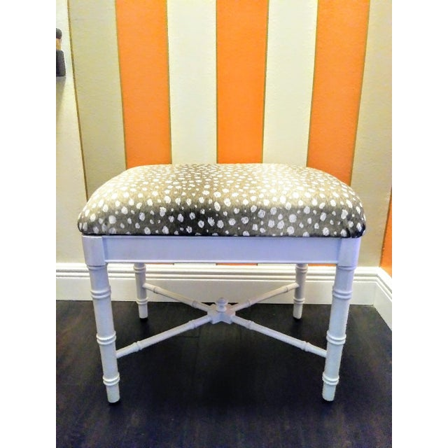 White Vintage Faux Bamboo White Gloss Palm Beach Regency Bench Ottoman W/ Ocelot Fabric For Sale - Image 8 of 8