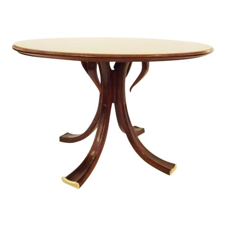 Osvaldo Borsani Rare and Important Center Table in Cherry and Glass For Sale