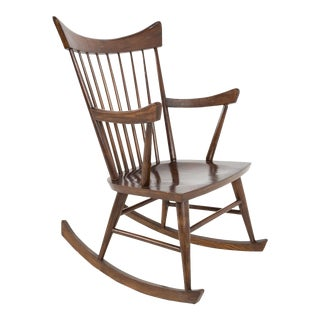Vintage Mid Century Paul McCobb Style Walnut Rocking Chair For Sale