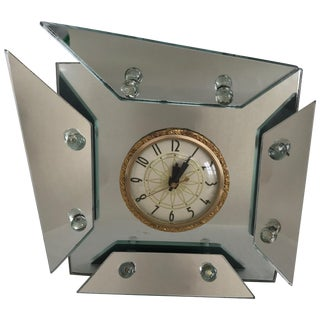 1940s, Art Deco Asymmetric Faceted Mirrored Mantel or Table Clock For Sale