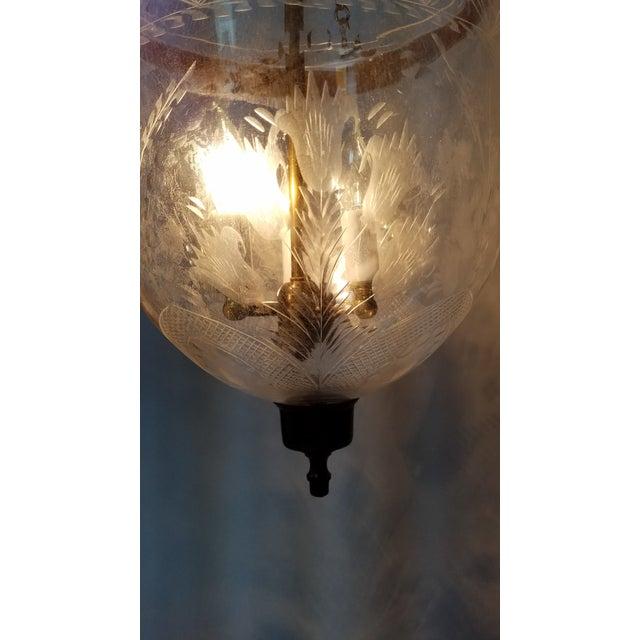Etched Tulip Pattern Bell Jar Lantern For Sale In Cincinnati - Image 6 of 11