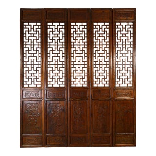 Antique Chinese Handcraft 5 Panels Wooden Screen/Room Divider For Sale