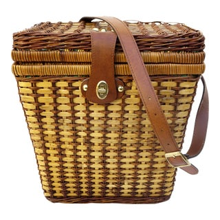 Vtg Wicker Rattan Picnic Basket With Carrying Strape || Whimsy Outdoor Dining Basket|| Magazine Storage || Fruit Basket For Sale
