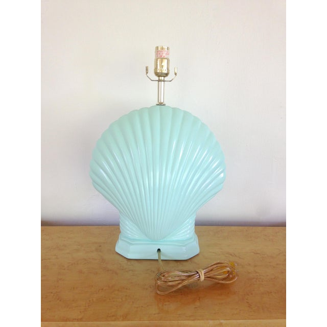 1980s Light Aqua Clam Shell Table Lamps - a Pair For Sale - Image 5 of 6