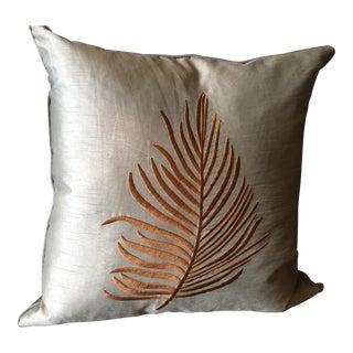Blue-Green Silk Embroidered Fern Pillow