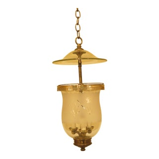 Bell Form Vintage Brass Small Hanging Chandelier Fixture For Sale