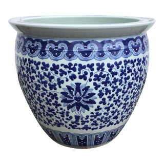 Blue & White Chinese Porcelain Planter / Jardiniere For Sale