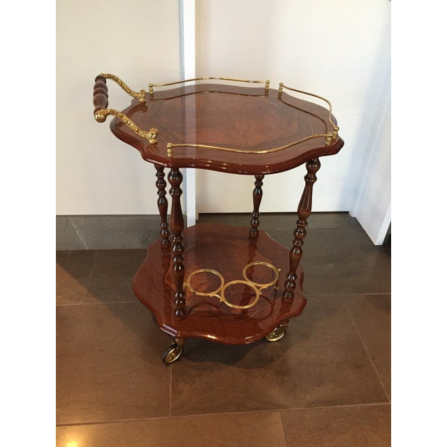 Handmade Italian Burled Wood and Inlay Bar Cart With Two Matching Trays - Image 11 of 11