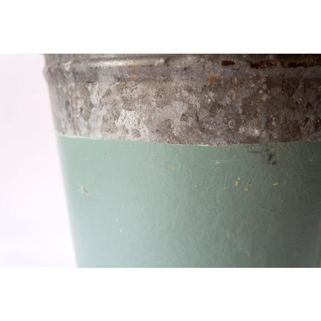 Metal Vintage Turquoise Galvanized Metal Vessel For Sale - Image 7 of 8