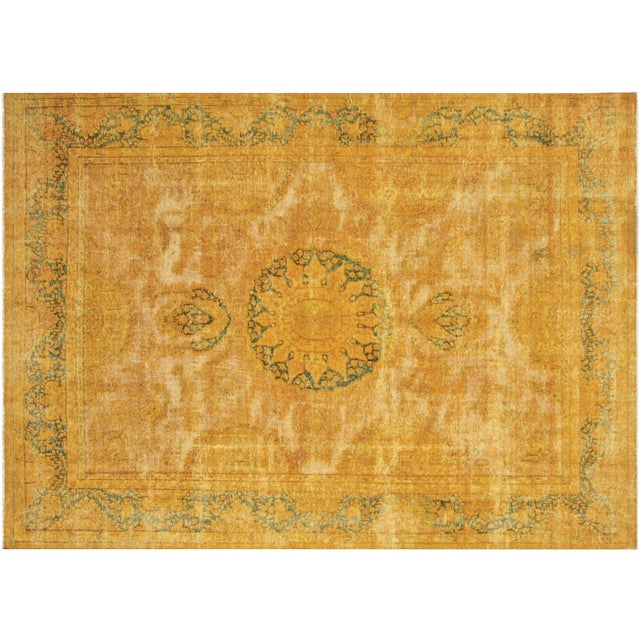 "Vintage Persian Overdyed Rug - 9'9"" x 14'1"" For Sale"