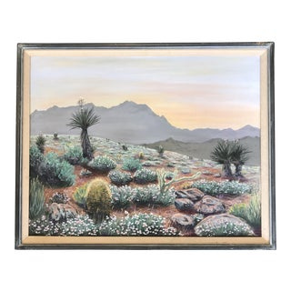 Vintage Oil Painting of a Western Desert For Sale