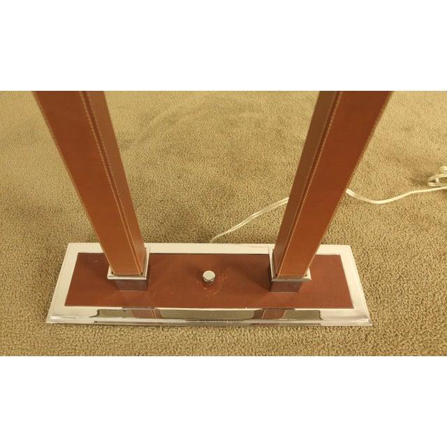 Ralph Lauren Ralph Lauren Leather & Chrome Double Student Desk Lamp For Sale - Image 4 of 12