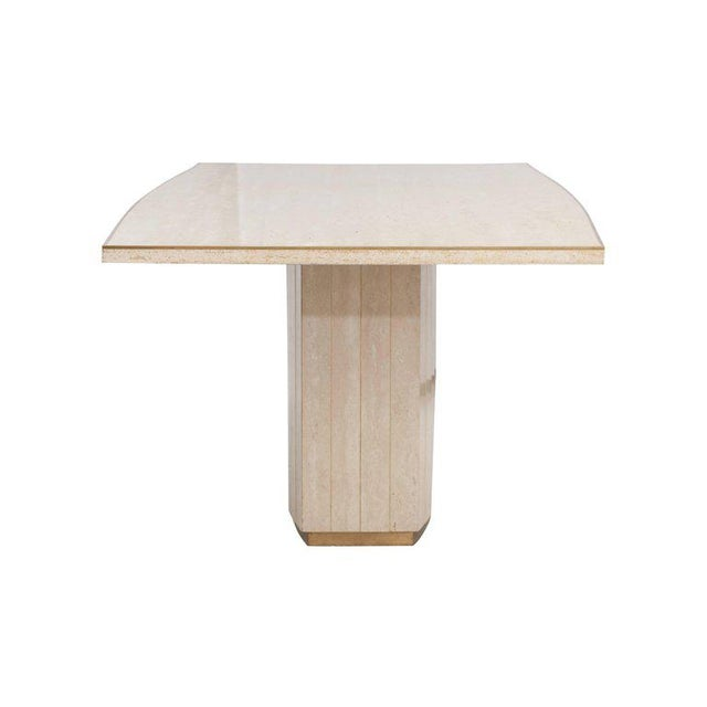 Brass Willy Rizzo Travertine Dining Table For Sale - Image 7 of 8