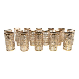 Imperial Glass 22k Gold Shoji High Ball Drinking Glasses - Set of 16 For Sale