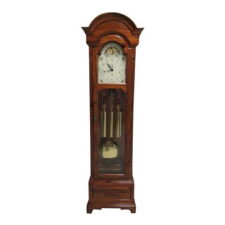 Ethan Allen Pine Westminster Moon Phase Country Craftsman Grandfathers Clock For Sale