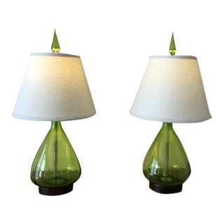 Olive Green Glass Blenko Table Lamps - A Pair