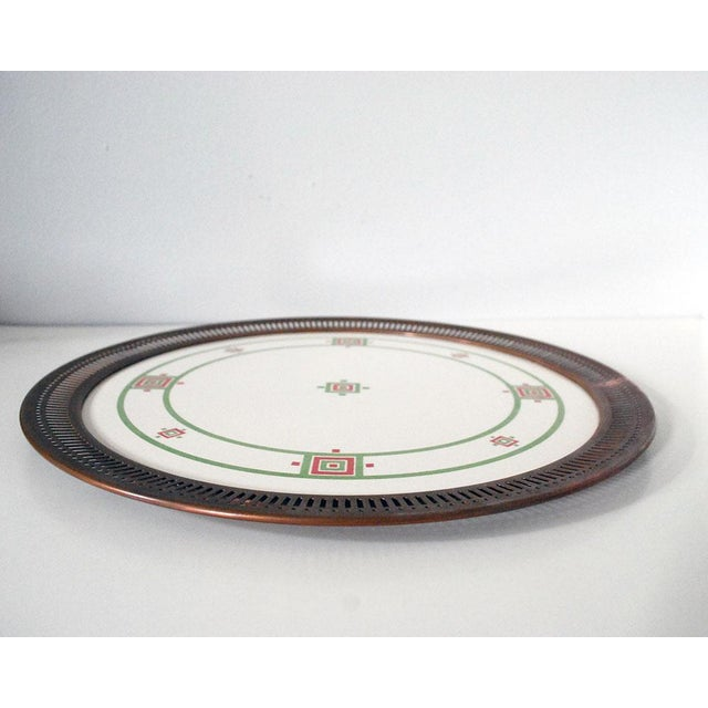 Late 19th Century Antique Art Deco Porcelain & Copper Tray For Sale - Image 5 of 7