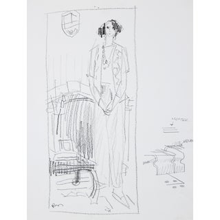 Monochromatic Female Figure, Ink Wash on Paper, 20th Century For Sale