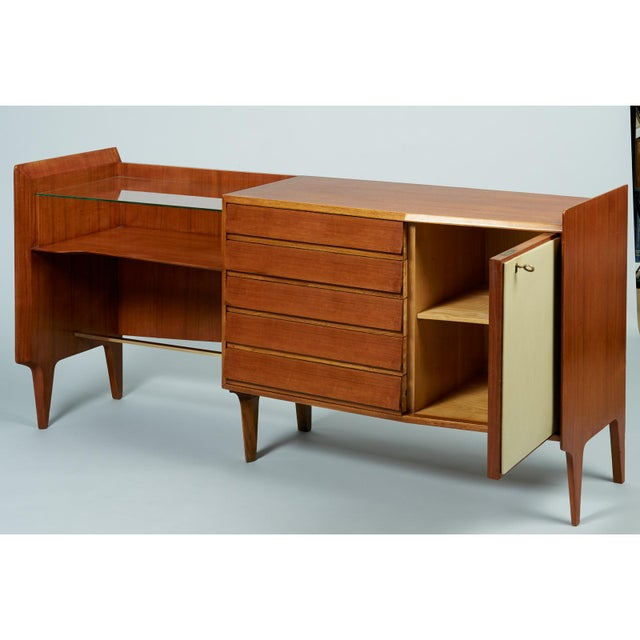 1950s Gio Ponti Exceptional Asymmetric Mahagony Cabinet For Sale - Image 5 of 10