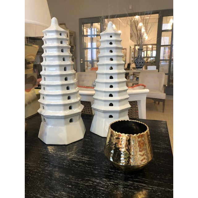Early 21st Century Early 21st Century Bungalow 5 White Pagoda Tower Statue For Sale - Image 5 of 6