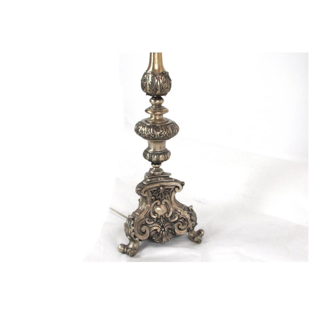 Ornate Hammered Tin Lamps - A Pair - Image 3 of 7