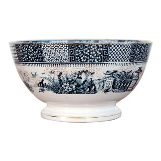 1890's Antique K&g Luneville Blue and White French Faience Bowl For Sale