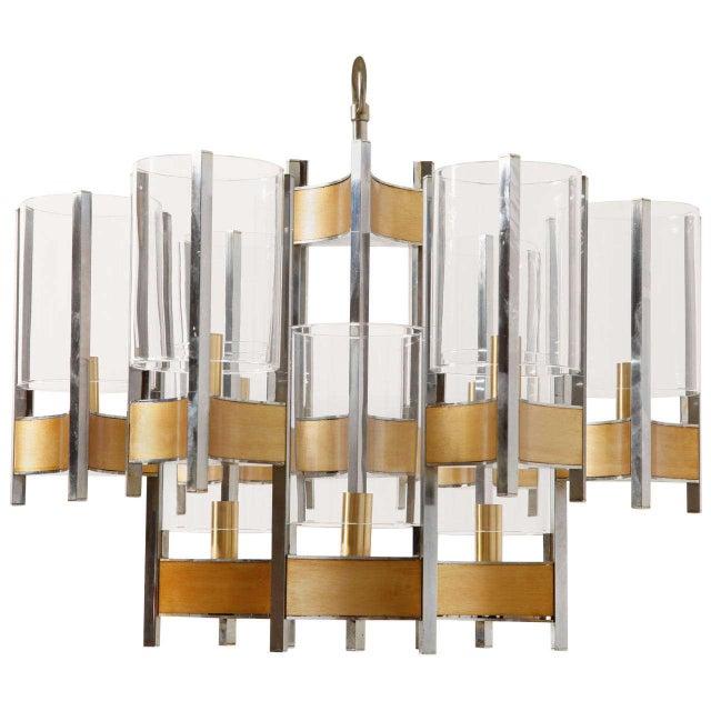 Sciolari Brass Glass Sculptural Chandelier,1970s For Sale - Image 11 of 11