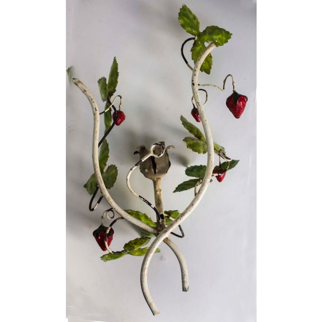 Figurative Italian Tole Leaves & Strawberries Sconce For Sale - Image 3 of 4