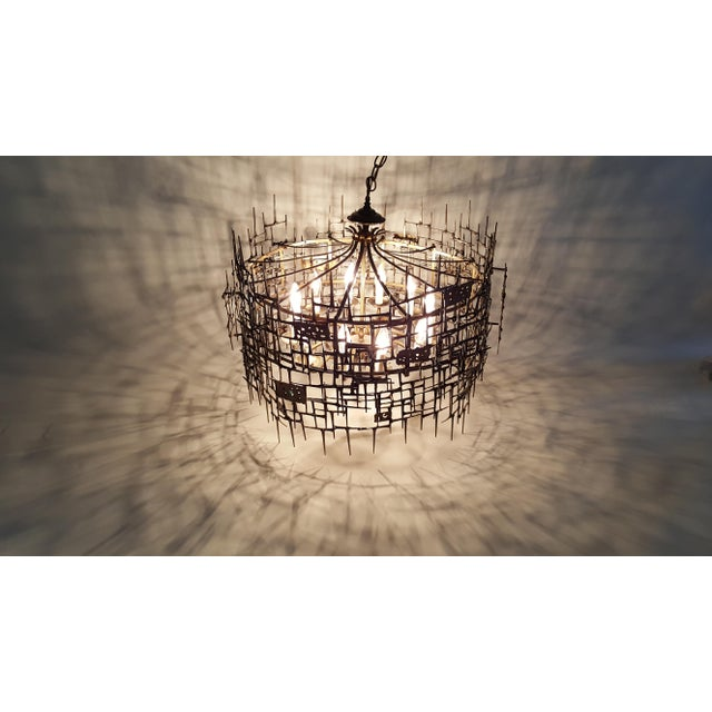 Welded Bronze & Nails Metal Chandelier For Sale - Image 10 of 11