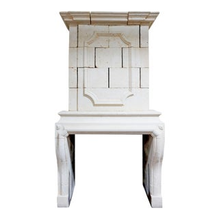 Louis XIII Limestone Mantel with Trumeau For Sale
