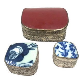 Vintage Mid-Century Chinese Porcelain Shard Box Collection - Set of 3 For Sale