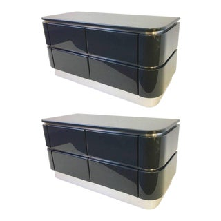 Pair of Lacquered and Brushed Stainless Steel Nightstands by Steve Chase