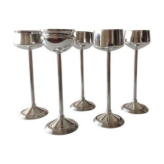 Silverplate Footed Votive Candle Holders -Set of 5 For Sale