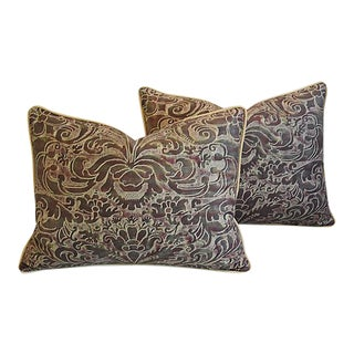"24"" X 18"" Custom Tailored Italian Fortuny Caravaggio Feather/Down Pillows - a Pair For Sale"