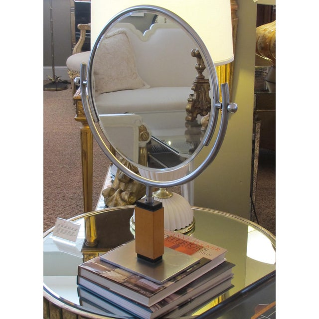A Chic American Art Deco 1930's Steel Dressing Mirror Raised on a Maplewood Base With Ebonized Highlights For Sale In San Francisco - Image 6 of 7