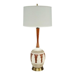 Midcentury Table Lamp w Leaf Motif For Sale