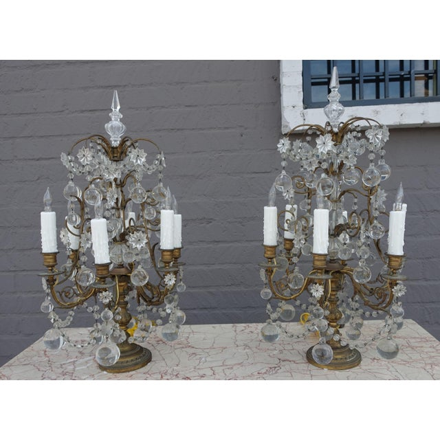 French Crystal & Bronze Lights - Pair - Image 2 of 9