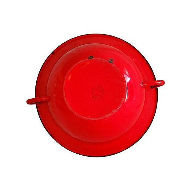 Red 1940s European Enamelware Harvest Bowl - Image 6 of 7
