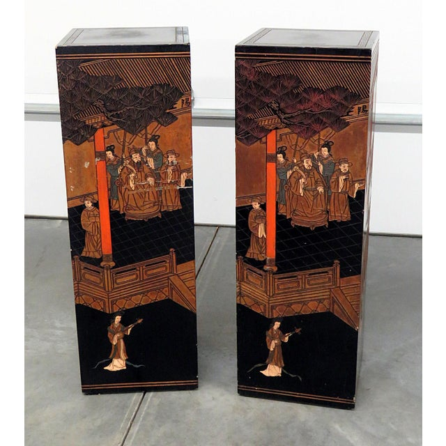 Mid-Century Oriental Ebonized Pedestals - a Pair For Sale - Image 12 of 12