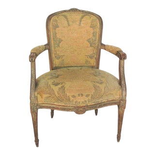 Tapestry Woven Fabric Bergere Chair For Sale