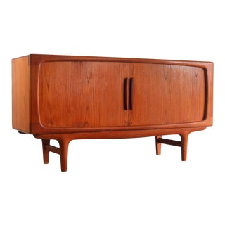 Johannes Andersen for Cfc Silkeborg Teak Tambour Door Credenza For Sale