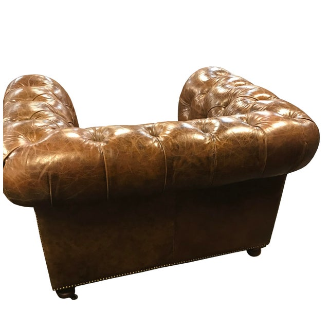 Restored Distressed Vintage Brown Leather Chesterfield Club Armchair - Image 4 of 7