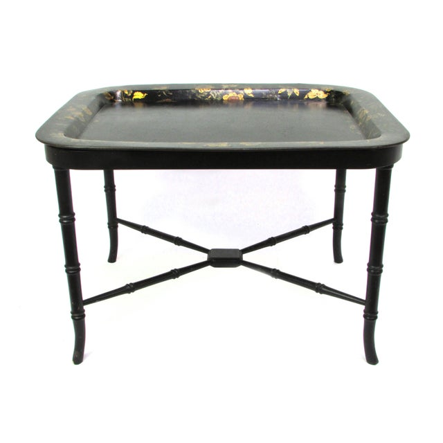 Faux Bamboo Antique 19th Century Gilt & Hand-Painted Papier Mache Tray With Faux Bamboo Table Stand For Sale - Image 7 of 7