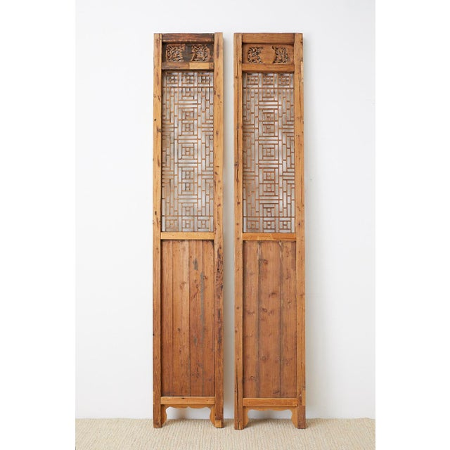 Pair of Chinese Carved Doors With Lattice Windows For Sale - Image 12 of 13