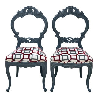20th Century Queen Anne Balloon Back Occasional Chairs - a Pair For Sale