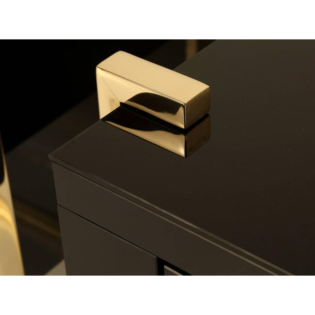 Custom Black Glass and Brass Nightstands - a Pair For Sale - Image 4 of 7